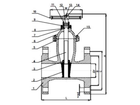 Задвижка чугунная SP Ду 50 (30ч39р) аналог задвижек МЗВ чертеж